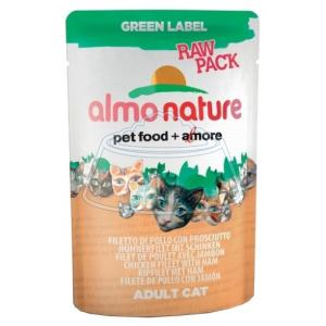 Almo Nature Green Label Raw Pack Adult Cat Chicken Fillet and Ham 55 г